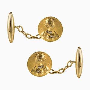 Diamonds and 18 Karat Yellow Gold Cufflinks, Set of 2