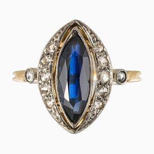French 1.20 Carat Sapphire, Diamonds and 18 Karat Gold Ring