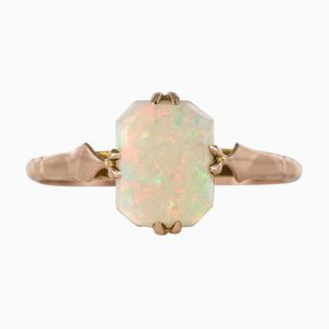 0.75 Carat Solitaire Opal Rose Gold Ring, 1900s