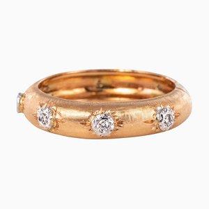 Diamond Satin Gold Band Ring
