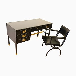 Desk and Armchair by Jacques Adnet, 1950s, Set of 2