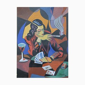 Cubist Watercolor, The Card Player, Jozef Popczyk, 1926