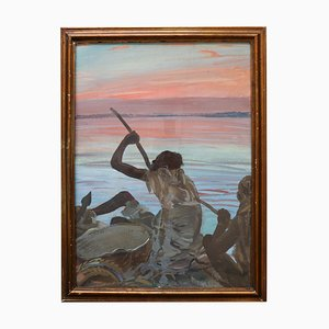 Pirogue Painting by Alexander Iacovleff, Black Cruise, 1924
