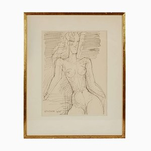 Naked Woman Waist Drawing by Marcel Gromaire, 1956