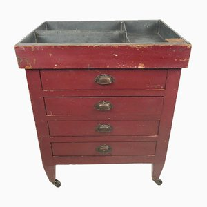 Small Antique Red Drawer Cabinet with Zinc Top