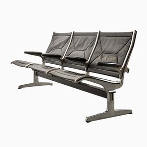 Black Leather Tandem Sling 3-Seater Airport Bench by Charles & Ray Eames for Herman Miller, 1962