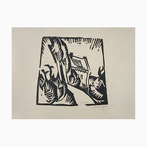 German Expressionist Woodcut House with Poplars by Karl Schmidt-Rottluff, 1913