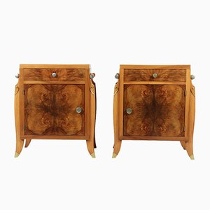Vintage French Art Deco Walnut Bedside Cabinets, Set of 2
