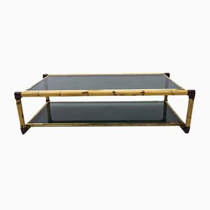 Large Italian Bamboo, Leather & Smoked Glass Coffee Table, 1960s
