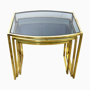 Italian Brass Coffee Tables, 1960s, Set of 3