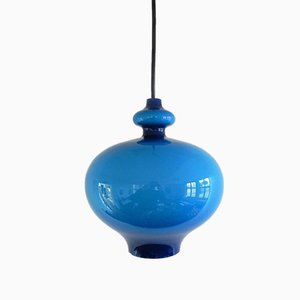 Blue Glass Pendant Lamp by Hans Agne Jakobsson, 1960s