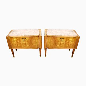 Italian Wooden Nightstands, 1950s, Set of 2