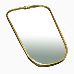 Vintage Rockabilly Style Asymmetrical Mirror in Golden Metal Frame