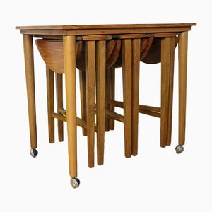 Mid-Century Teak Nesting Table Set by Poul Hundevad for Novy Domov