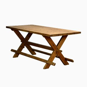 Mesa de trabajo de madera de pino, años 50