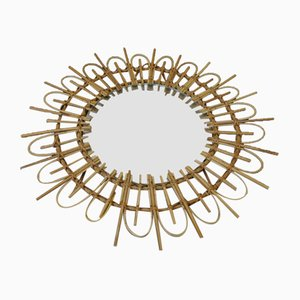 Vintage Bohemian Style Round Mirror in Bamboo Frame