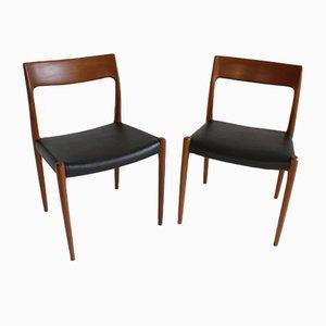 Sillas danesas de teca de Niels Otto Møller para JL Moller, años 60. Juego de 2