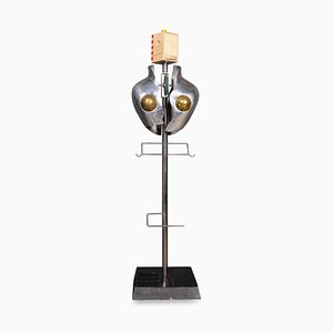 Polished Metal Torso Valet Stand, Circa 1980