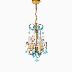 Lámpara de araña italiana pequeña de vidrio opalino azul