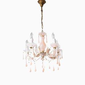 Lámpara de araña de vidrio opalino rosa