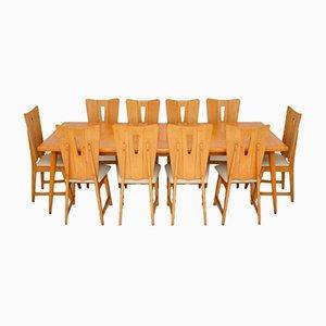 Birkenholz Esstisch & 10 Stühle, 1950er, 11er Set