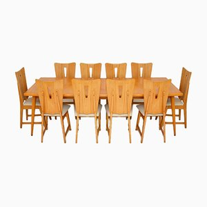 Satin Birch Dining Table & 10 Chairs, 1950s, Set of 11