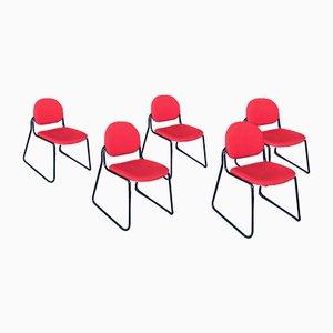 Juego de silla apilable italiano posmoderno de Talin, años 80. Juego de 5