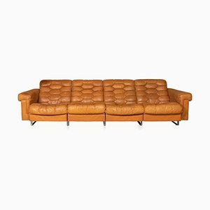 Italian Leather 4-Seater Sofa with Reclining Seats, Circa 1970