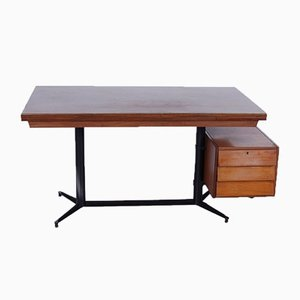Italian Extendable Iron and Wood Desk, 1950s
