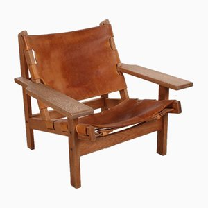 Mid-Century Leather & Oak Safari Chair by Kurt Østervig for KP Møbler, 1960s