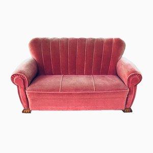 Divano Art Deco di velluto rosa a due posti, anni '30