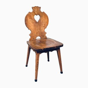 Vintage Brutalist Heart-Shaped Oak Dining Chairs, 1950s, Set of 4
