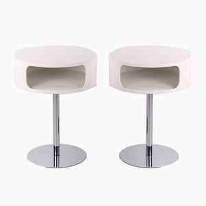 Space Age Style Side or Bedside Tables with Chrome Base, Set of 2
