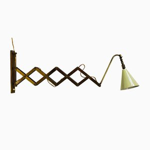 Italienische Messing Scheren Wandlampe, 1940er
