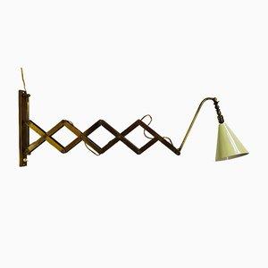 Lámpara de acordeón italiana de latón, años 40