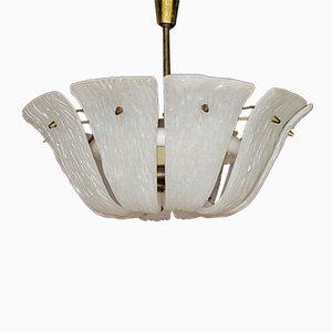 Lampe à Suspension en Verre Incurvé et Texturé de Kalmar