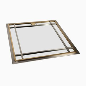Large Vintage Square Chrome & Brass Mirror from Maison Jansen, 1970s