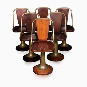 Art Deco Mahogany & Brass Giuseppe Verdi Swivel Chairs, 1915, Set of 6