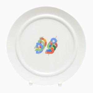 Plato del alfabeto de porcelana de Marcello Morandini para Rosenthal, años 80