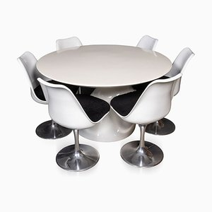 20th Century Fibreglass & Lacquer Table & Chairs, 1960s, Set of 6