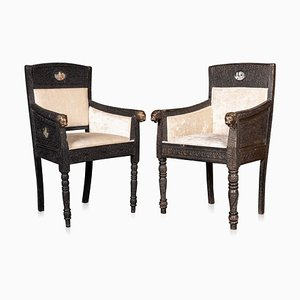 19th Century Indian Mogul Style Carved Wood Throne Chairs, 1880s, Set of 2