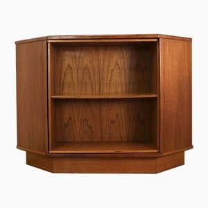 Mid-Century Danish Teak Corner Dry Bar with Hidden Compartment