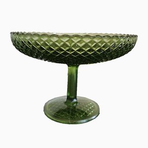 Vintage Green Glass Bowl, 1960s