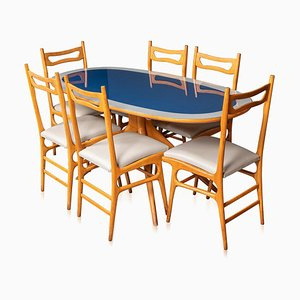 20th Century Italian Wooden Table & Chairs, 1970s, Set of 6