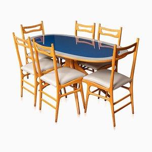 Italienischer Holztisch & Stühle, 20. Jh., 1970er, 6er Set