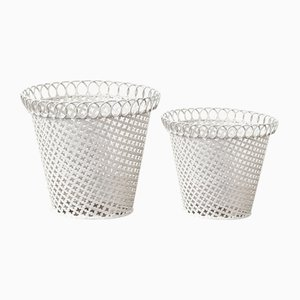 Metal Flower Pots in the Style of Mathieu Mategot, 1950, Set of 2