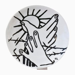 Wandteller mit Zeichnung von Fernand Léger, 1974