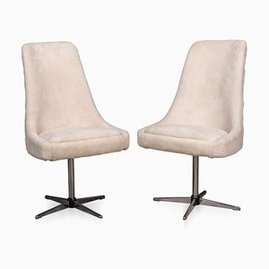 20th Century Natural Shearling Swivel Chairs, 1970s, Set of 2