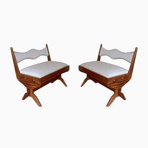 Italienische Vintage Compass Sessel aus Holz von Le Corbusier, 1960er, 2er Set