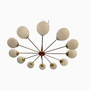 Large Vintage Opaline Glass Chandelier